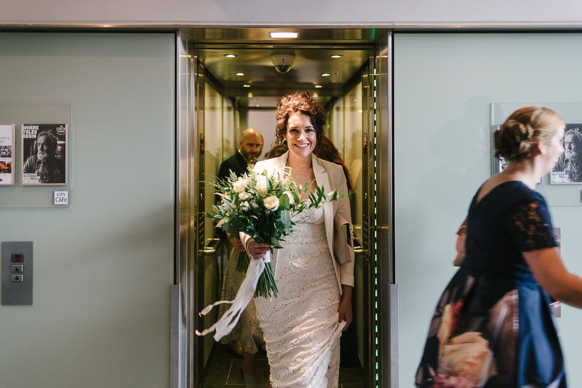 bride in the lift