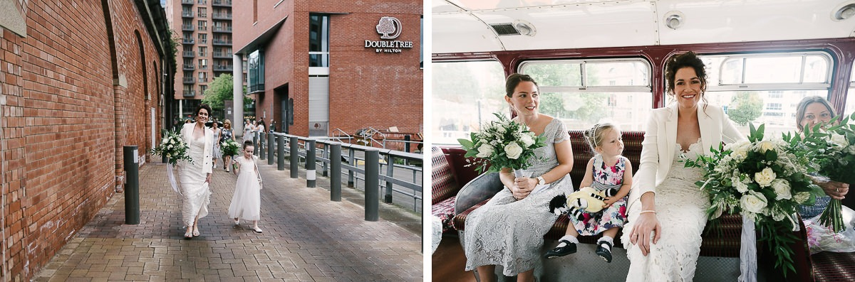 travel to the wedding in Leeds by vintage bus
