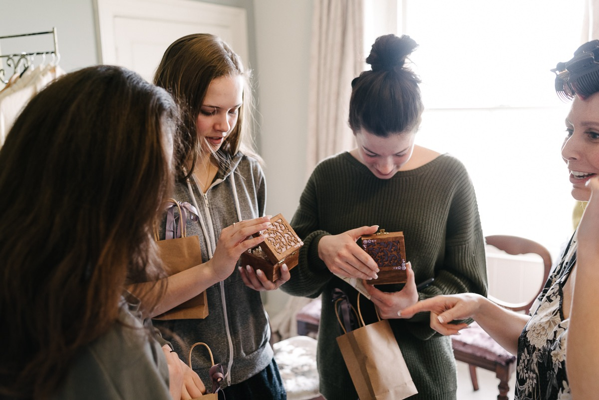 bridesmaids getting their gifts