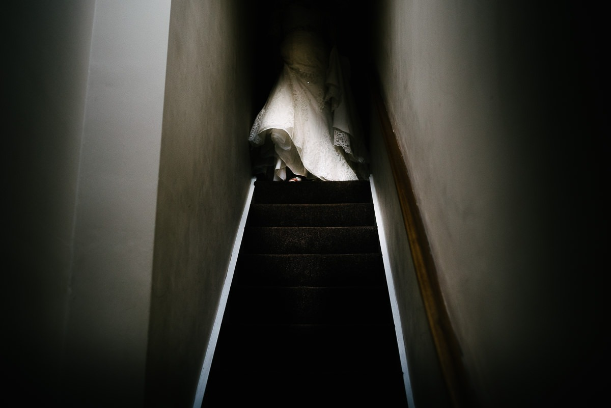 bride on stairs top